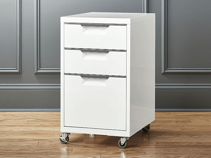 Three Drawer White Colour Filing Cabinet Manufacturer- Space Planners India
